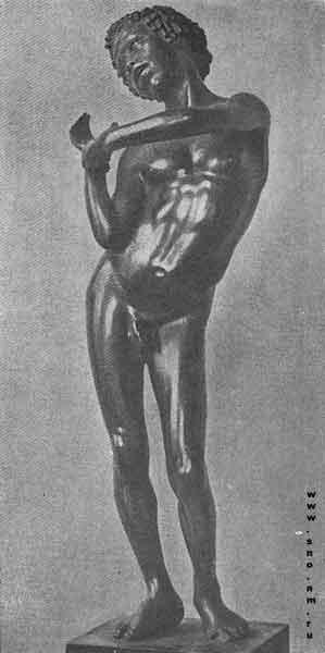 бронзовая статуэтка поющего мальчика нубийца